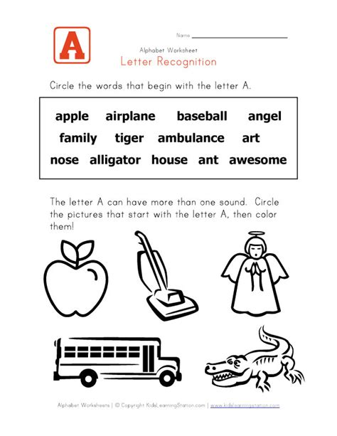 Letter Words Letter A Words Alphabet Recognition Page Learning