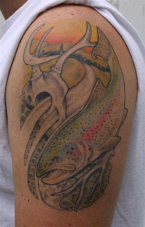 rainbow fish tattoo rainbow trout and a whitetail skull fish and fishing
