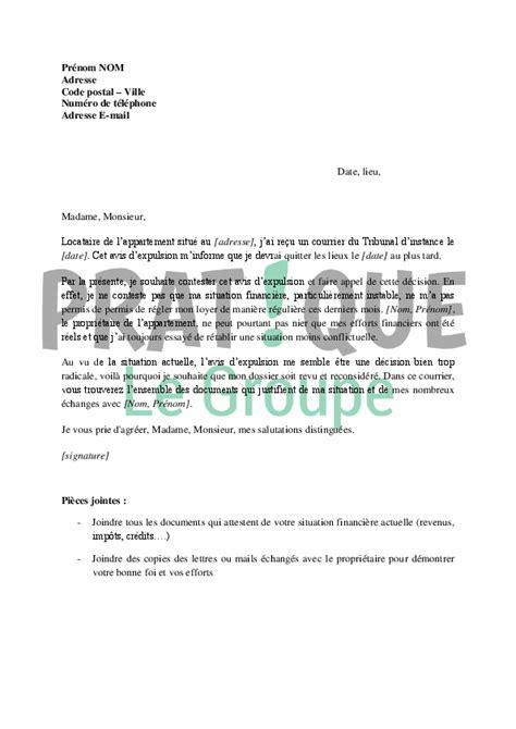 Exemple De Lettre Pour Demande De Logement Hlm Lettre De Demande De Recours Contre Une Expulsion Pratique Fr