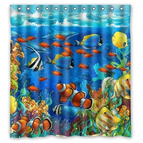 Shower Curtains With Fish Theme Fish Shower Curtains Kritters In The Mailbox Fish Shower Curtain