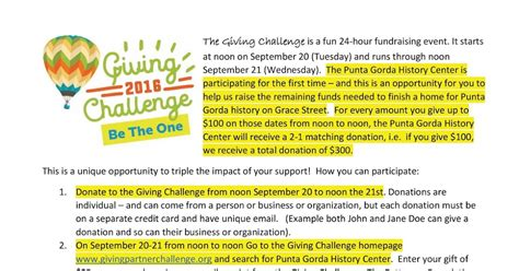 Donation Challenge Letter The Punta Gorda History Center Four Days To The Giving Challenge Pghc Your