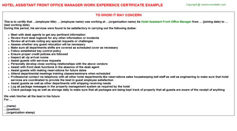 Experience Letter Hotel hotel assistant front office manager work experience