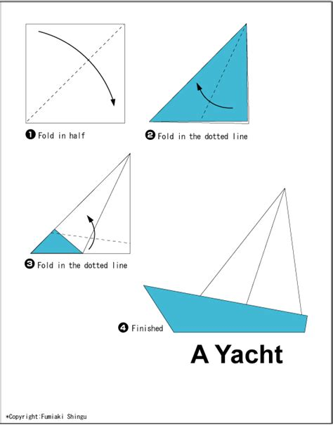 Origami Boat Directions - yacht easy origami for