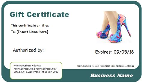 Shoe Shopping Gift Certificate Template For Word Document Hub Shopping Certificate Template