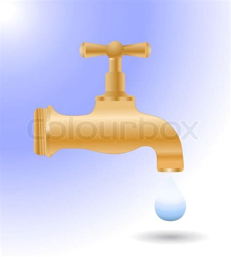 Water Faucet Vector by Vector Faucet Tap With Last Drop Of Water Vector Colourbox