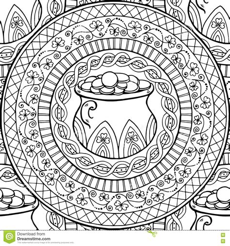 clover mandala coloring page saint patrick s day theme mandala with irish pot golden