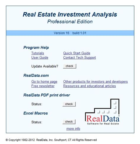 Real Estate Investment Analysis Worksheet by Reia Professional Edition Screenshots