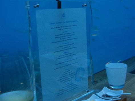 ithaa undersea restaurant prices ithaa menu picture of ithaa undersea restaurant rangali