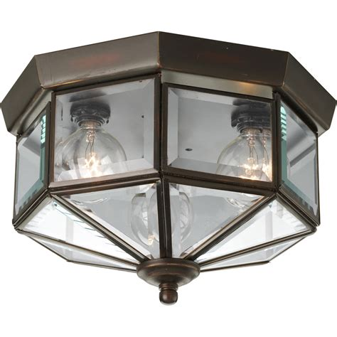 Progress Outdoor Lighting Fixtures Progress Lighting P5788 20 Beveled Glass Outdoor Flush Mount Ceiling Fixture