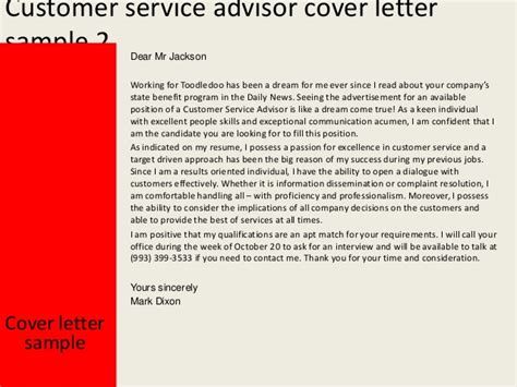 customer service cover letter no experience customer service advisor cover letter