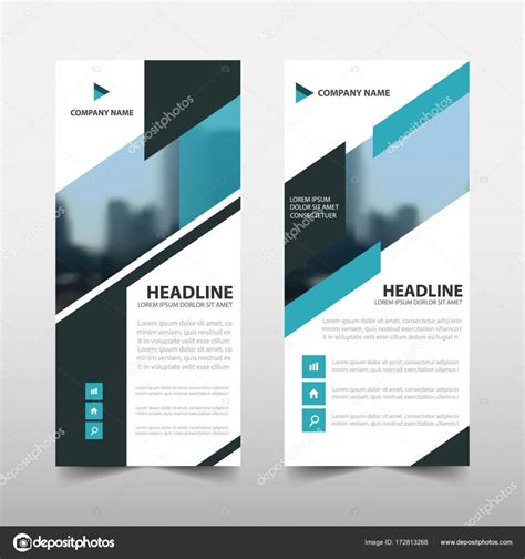 layout x banner blue triangle roll up business brochure flyer banner