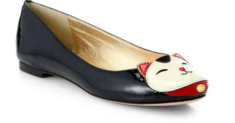 kate spade cat slippers kate spade jimi patent leather cat flats in black black