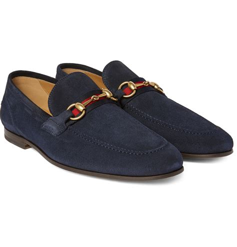 gucci blue suede loafers lyst gucci horsebit webbing trimmed suede loafers in
