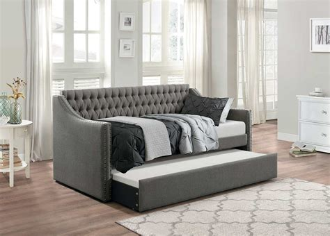 Tufted Daybed With Trundle Homelegance Tulney Button Tufted Upholstered Daybed With Trundle Gray 4966dg