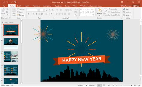 Animated Happy New Year City Fireworks Powerpoint Template New Year Powerpoint