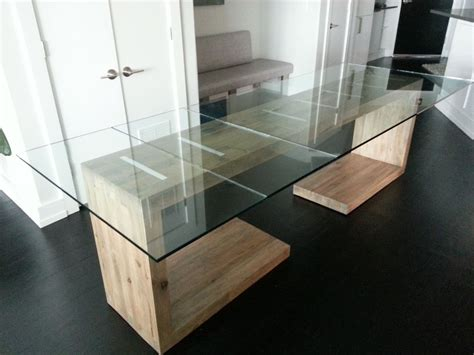 Custom Glass Top For Dining Table Crafted Glass Top Dining And Side Table By Ajc Woodworking Custommade