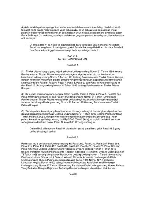 Tindak Pidana Korupsi Kajian Terhadap Harmonisasi Antara Hukum Nasiona uu 2001 nomor 20 perubahan atas undang undang nomor 31 tahun 1999 ten