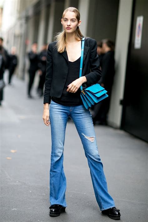 jeans in style for 2016 flared jeans street style of new york fashion week fall