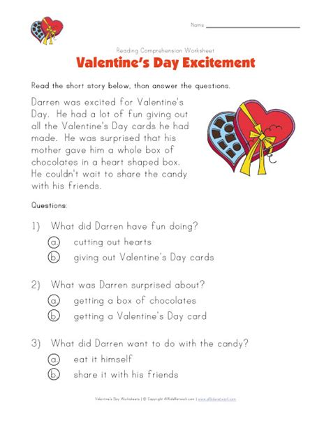 valentines reading comprehension worksheet s day reading comprehension worksheet