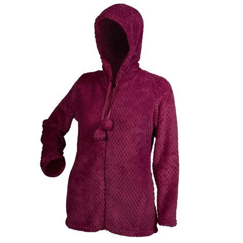 bed coat bed jacket ladies zip up waffle fleece hooded house coat