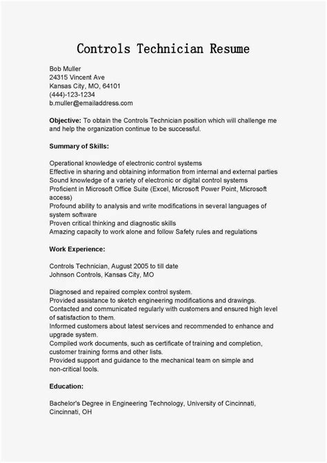 Controls Technician Sle Resume by Resume Sles Controls Technician Resume Sle