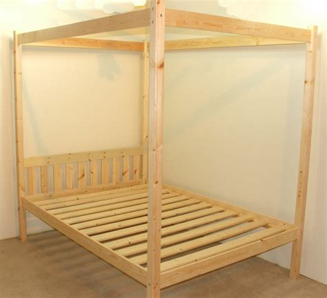 Quattro 4ft 6 Double Four Poster Solid Pine Bed Frame Four Poster Bed Frame