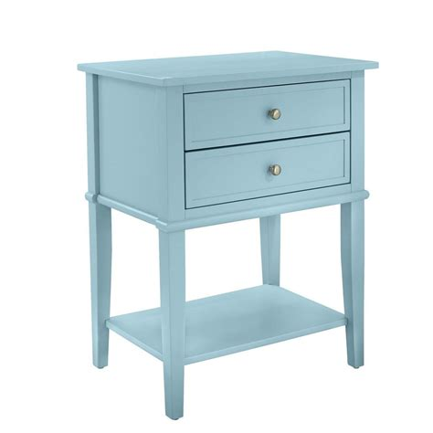 accent table with drawers ameriwood queensbury blue accent table with 2 drawers