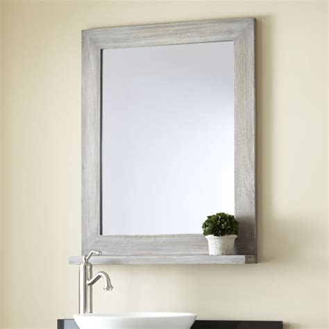 Mirrors Bathroom 24 Quot Liani Teak Vanity Mirror Gray Wash Bathroom
