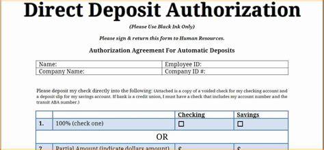 payroll direct deposit form template simple salary slip