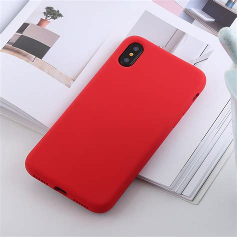 shockproof solid color liquid silicone feel tpu case