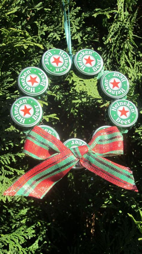 upcycled beer bottle cap christmas ornament by