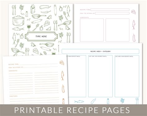 pages cookbook template diy custom recipe binder cookbook printable pages 40
