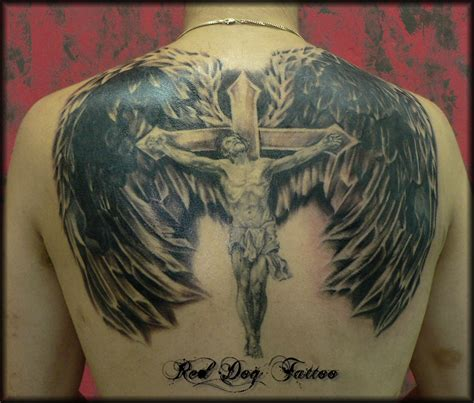cross with wings tattoo on back 25 inspiration jesus tattoos