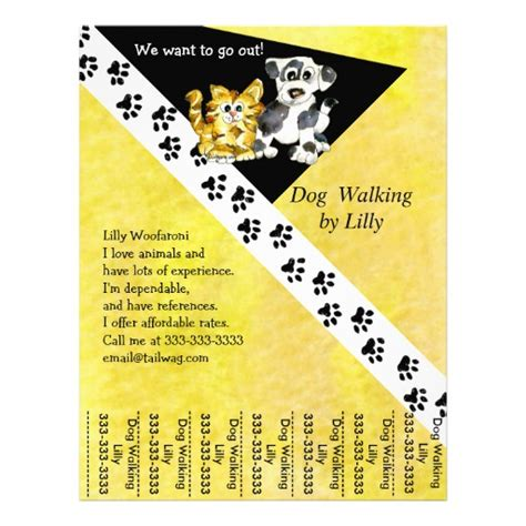 walking flyer template walker pet walking tear sheet custom flyer zazzle