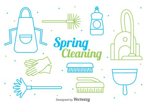 spring cleaning spring cleaning line style vector download free vector