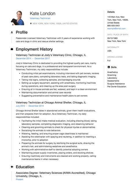 veterinary technician resume templates 12 veterinary technician resume templates resumeviking