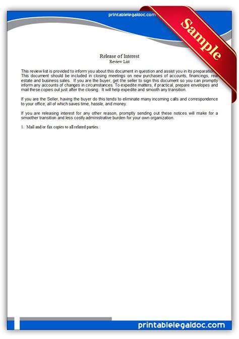 Release Of Interest Letter Free Free Printable Release Of Interest Form Generic