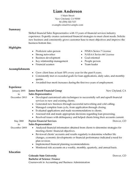 Resume Sles For Accounting And Finance Best Sales Representative Resume Exle Livecareer