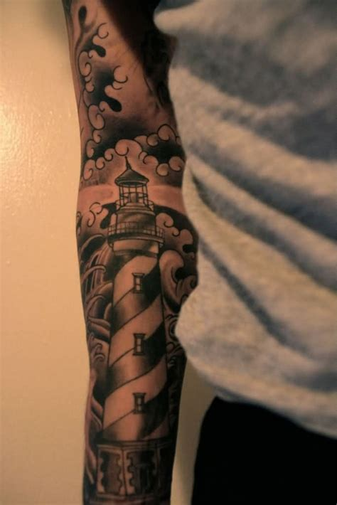 tattoo arm sleeves malaysia beautiful grey ink lighthouse tattoo on arm sleeve ink