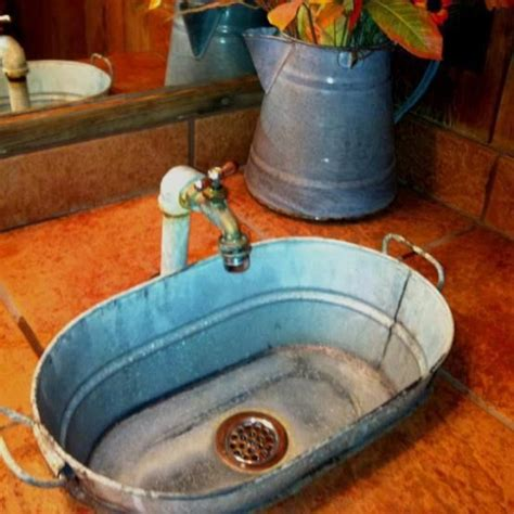 galvanized sink rustic home