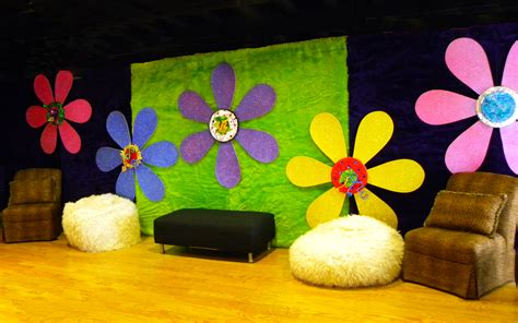 retro theme decorations groovy flower backdrop with retro seating 70 s