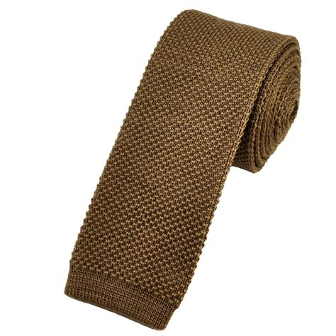 Plain Camel Brown Knitted Wool Narrow Tie From Ties Planet Uk