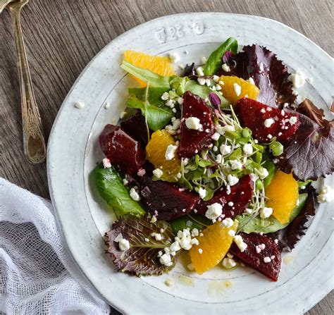 beet salad with goat cheese and orange vinaigrette dressing wonkywonderful