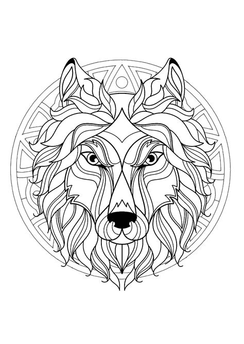 Complex Mandala coloring page with wolf head 3 - Difficult