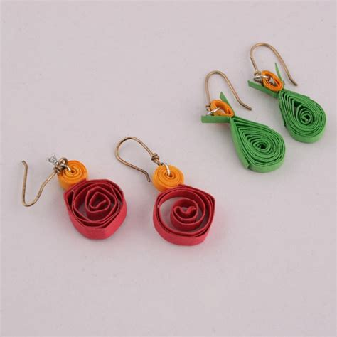 Paper Earrings - green handmade coloured paper earrings shopping