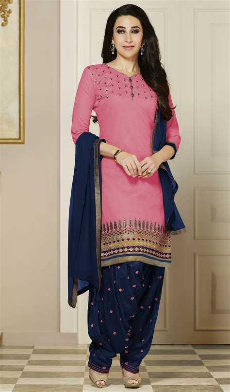 Indian Wardrobe - buy craftsvilla pink cotton cambric unstitched dress
