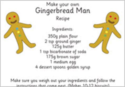 printable gingerbread man recipe the gingerbread man free printable story resources