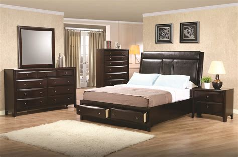 phoenix california king leather storage platform  piece bed set quality furniture