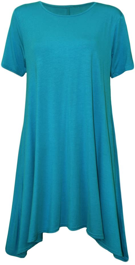 swing top shirt new womens plus size ladies short sleeve swing stretch