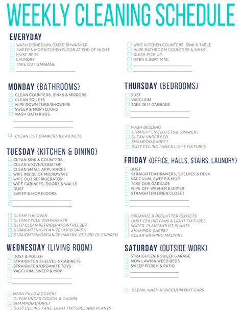 weekly cleaning calendar printable 7 of the best free printable cleaning schedules cleaning